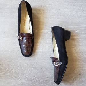 Salvatore Ferragamo Black Suede/Brown Croc Loafers